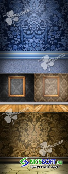 Elegant interior with damask wallpaper 0121