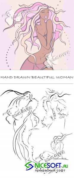 Hand drawn beautiful woman 0121