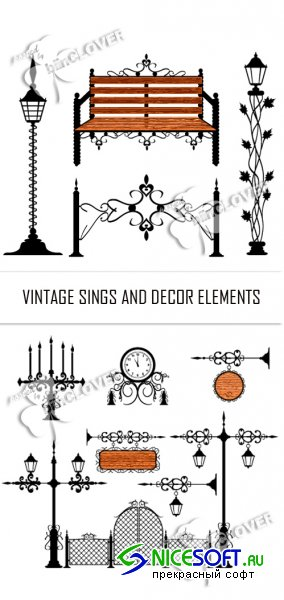 Vintage signs and decor elements 0123