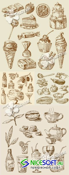 Set of hand-drawn food 0173