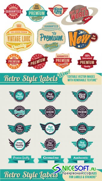 Vintage Labels Vector Set #50
