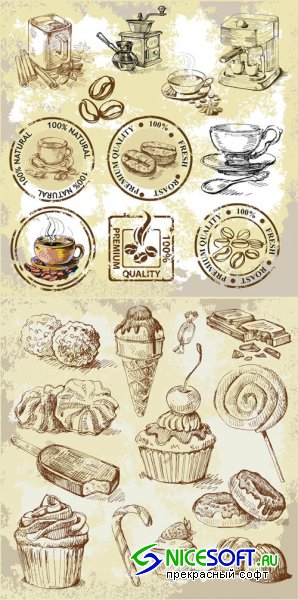 Coffee and Dessert - Vector Set