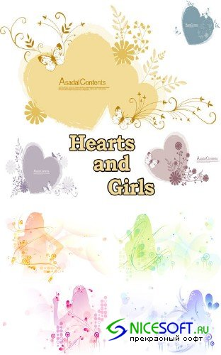 Hearts and Girls vectors
