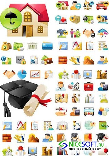 Education and Science + Real Estate Mega Set Icons