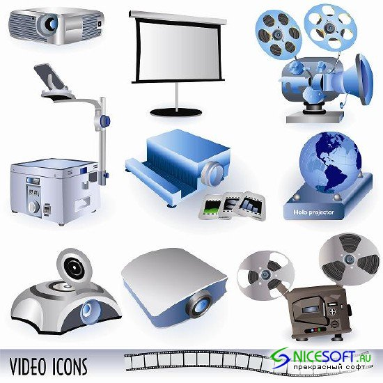 Video Icons Vector Set