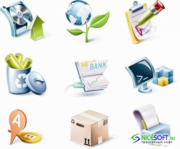Office 3D Icons Set