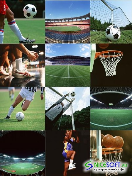 Football and Basketball - Stock Photo