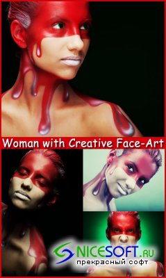 Woman with Creative Face-Art - Stock Photos
