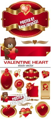Gold valentine hearts