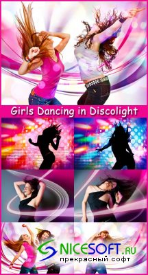Girls Dancing in Discolight - Stock Photos
