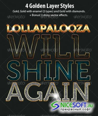 GraphicRiver - 4 Golden Text and Layer Styles