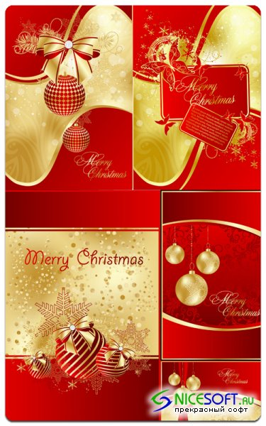 Red New Year's Cards - Vector Stock