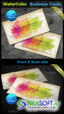 PSD Template - Watercolor Business Card