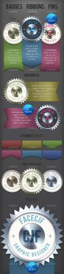 Badges Pins & Ribbons Template