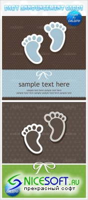 Baby Announcement Vector Cards