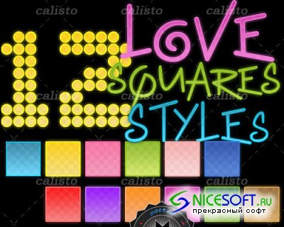 12 Love Squares Styles for Photoshop