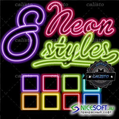 8 Neon Styles for Photoshop