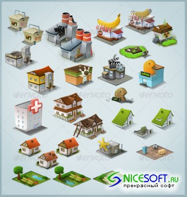 GraphicRiver - Modern Stylised Building Icon Pack (64 items)