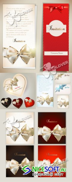 Invitations card with ribbons and bows 0234