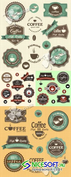 Coffee labels and stickers set 0238