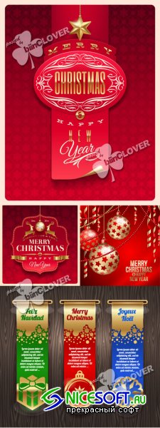 Christmas greeting cards, labels and banners 0319