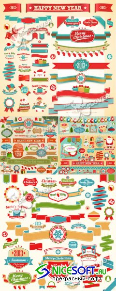 Christmas labels and ribbons 0319