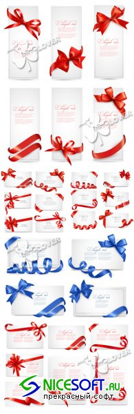 Gift cards with bows and ribbons 0345