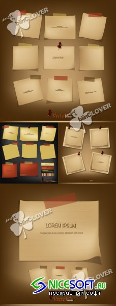 Set of vintage paper for message 0347