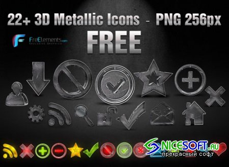 22 3D Metallic PNG Icons Pack