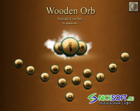 Wooden Orb Social Icons