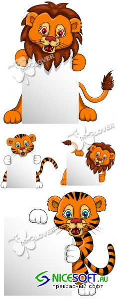Cartoon tiger  and lion with blank board 0384