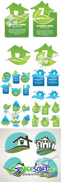 Set of ecological stickers and icons 0384