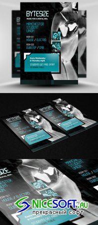 Bytezise Techno Party Flyer/Poster PSD Template