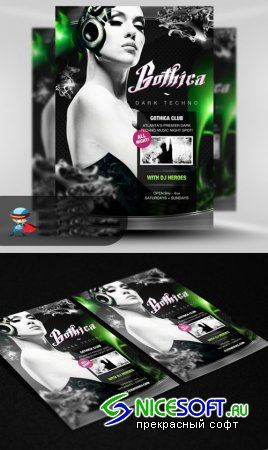 Gothica Techno Party Flyer/Poster PSD Template
