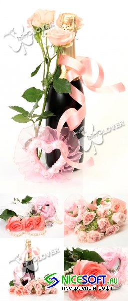 Champagne and bouquet of roses 0391