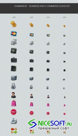 Commercio Business and E-Commerce Icons Set