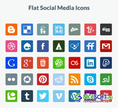 Flat Social Media PNG & PSD Icons