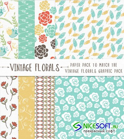 Vintage Floral Paper Photoshop Patterns