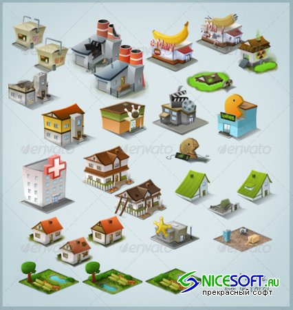 GraphicRiver - Modern Stylised Building Icon Pack (64 items) (REUPLOAD)