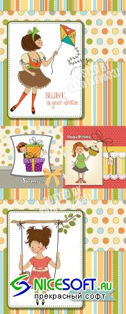 Children cards for girl