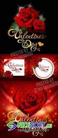 Valentine cards with roses
