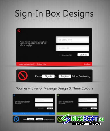 Login Boxes and Error Messages PSD Template