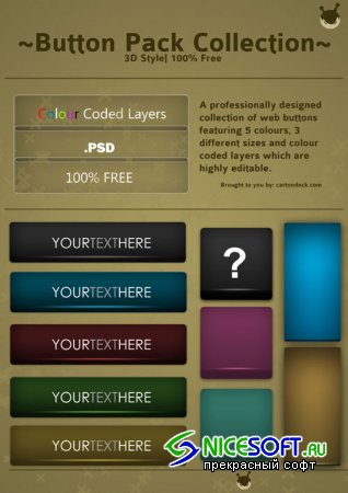3D Buttons Pack Collection PSD Template