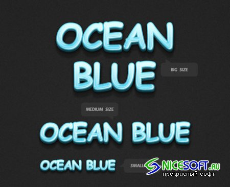 3D Ocean Blue Text Styles for Photoshop